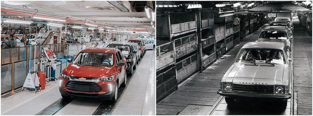 Fábrica da GM em São Caetano do Sul no presente e no passado